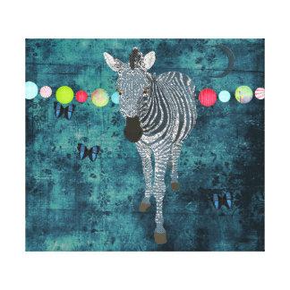 Arte da meia-noite das canvas da zebra do luar impressão em tela