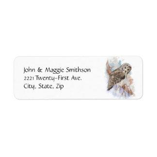 Arte da natureza do pássaro da coruja de grandes etiqueta endereço de retorno