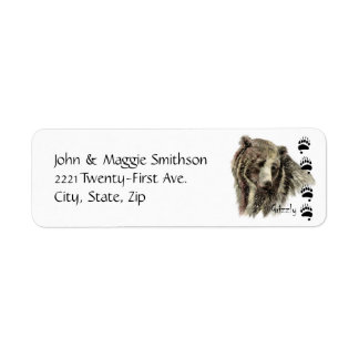 Arte da natureza dos animais selvagens do urso de etiqueta endereço de retorno
