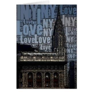 Arte da palavra: Chrysler que constrói, eu amo NY Cartão Comemorativo
