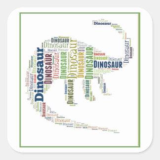 Arte da palavra do dinossauro adesivo em forma quadrada