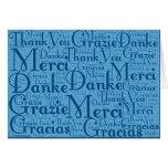 Arte da palavra: Obrigado em multi línguas - azul Cartão De Nota