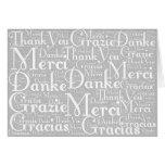 Arte da palavra: Obrigado no branco cinzento das Cartões