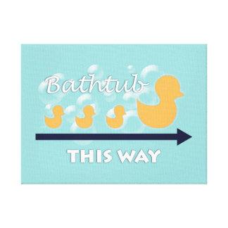 Arte da parede do banheiro do pato - canvas
