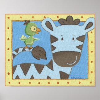 Arte da parede do berçário da zebra dos contos da impressão