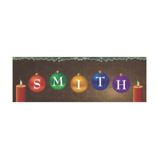 arte da parede do Natal do sobrenome de 5 letras Impressão De Canvas Esticadas