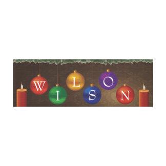 arte da parede do Natal do sobrenome de 6 letras Impressão De Canvas Envolvidas