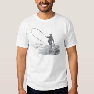 Arte da pesca com mosca do vintage tshirt
