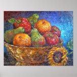 Arte da pintura da cesta de fruta - multi posteres