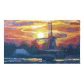 Arte da pintura do moinho de vento do nascer do cartão de visita