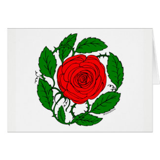 Arte da rosa vermelha no cartão de nota vazio,
