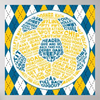 Arte da tipografia da bola de futebol pôster