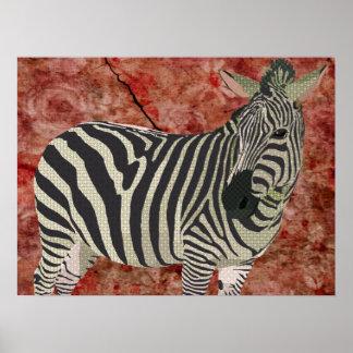 Arte da zebra da cintilação do vintage pôsteres