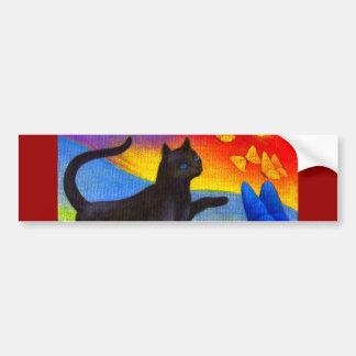 Arte das borboletas da pintura do gato preto - mul adesivo