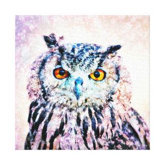 Arte das canvas - coruja nos meios mistos impressão de canvas esticadas