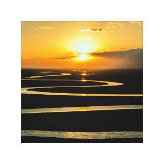 Arte das canvas do rio Snake do por do sol