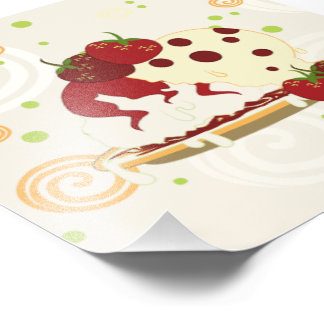 Arte das morangos e do sorvete do verão impressão de foto