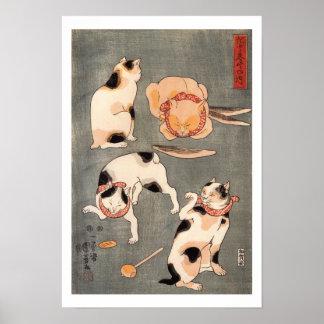 Arte das poses do gato de Kuniyoshi quatro do Poster