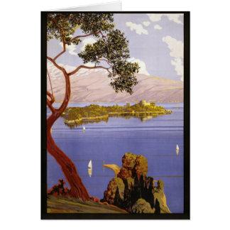 Arte das viagens vintage de Garda do lago Cartão