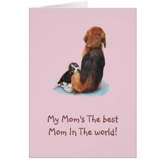 Arte de afago do realista do cão da mamã do cartão