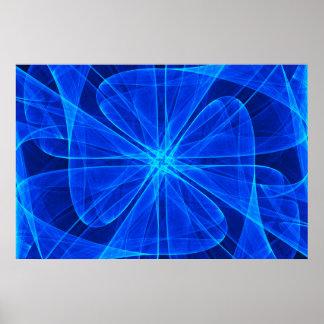Arte de computador azul da hélice abstrata de pôster