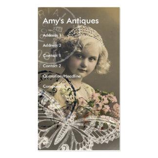 Arte de Digitas da menina do vintage Cartão De Visita