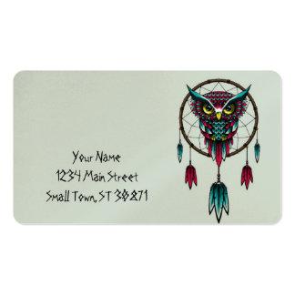 Arte de Dreamcatcher do pássaro da coruja Cartão De Visita