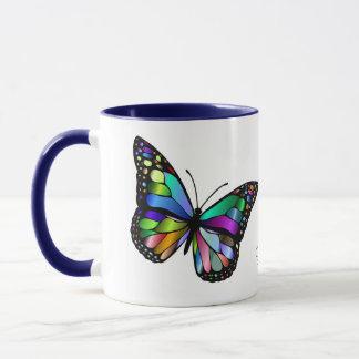 Arte de incandescência bonita da borboleta caneca