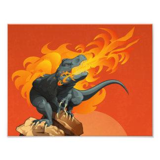 Arte de jogo do dinossauro da chama por grades de  artes de fotos