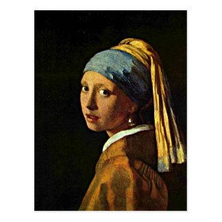 Arte de Johannes Vermeer - menina com um brinco da Cartão Postal