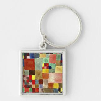 Arte de Paul Klee: Flora na areia, pintura famosa Chaveiro Quadrado Na Cor Prata