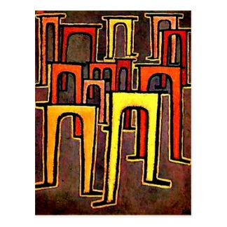 Arte de Paul Klee - revolução do Viaduct-1937 Cartão Postal