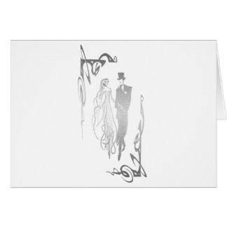 Arte de prata dos noivos cartão comemorativo