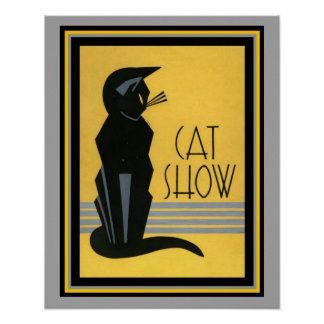 Arte Deco da mostra do gato poster 16 x 20