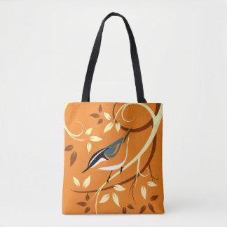 Arte decorativa do pica-pau-cinzento bolsa tote
