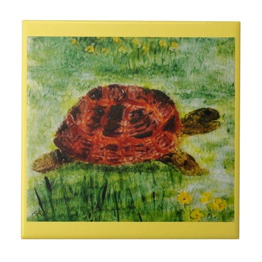 Arte do animal da tartaruga azulejo quadrado pequeno