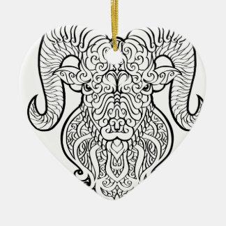 Arte do Aries Ornamento De Cerâmica Coração