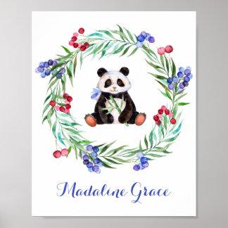 Arte do berçário da panda da aguarela pôster