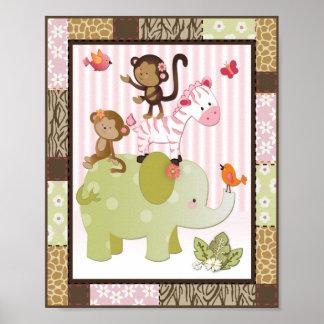 Arte do berçário do bebé dos animais de Jill da se Pôster