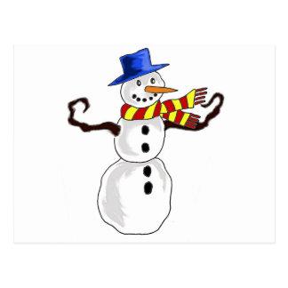 Arte do boneco de neve do Natal Cartão Postal