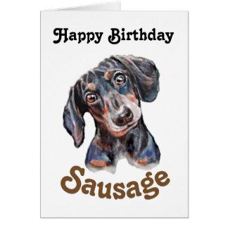 """""""Arte do cão da salsicha do feliz aniversario"""" do Cartão Comemorativo"""