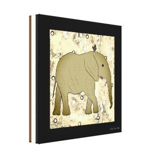 Arte do costume do elefante e do pássaro impressão em tela