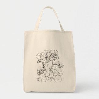 Arte do desenho da caneta e da tinta da flor da ch bolsa para compra
