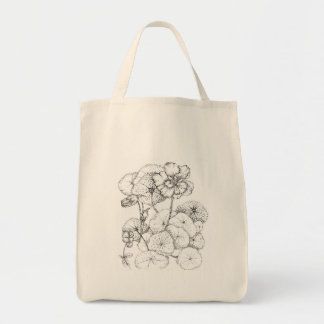 Arte do desenho da flor da caneta e da tinta da sacola tote de mercado