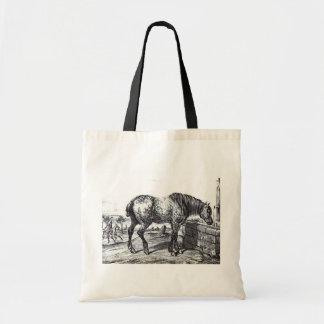 Arte do desenho do vintage do cavalo de Percheron Bolsa Para Compra