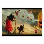 Arte do Dia das Bruxas do vintage - o gato encontr Cartões
