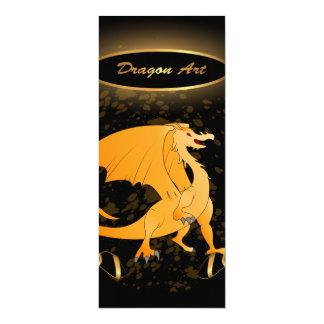 Arte do dragão, dragão dourado engraçado convite 10.16 x 23.49cm