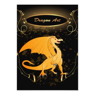 Arte do dragão, dragão dourado engraçado convite 12.7 x 17.78cm