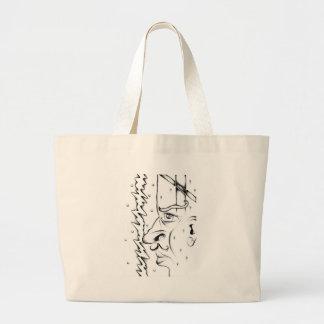 Arte do esboço do desenho da cara handmade sacola tote jumbo