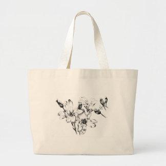 Arte do esboço do desenho da flor handmade sacola tote jumbo
